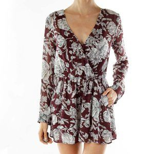 ASTR floral burgundy romper size small long sleeve